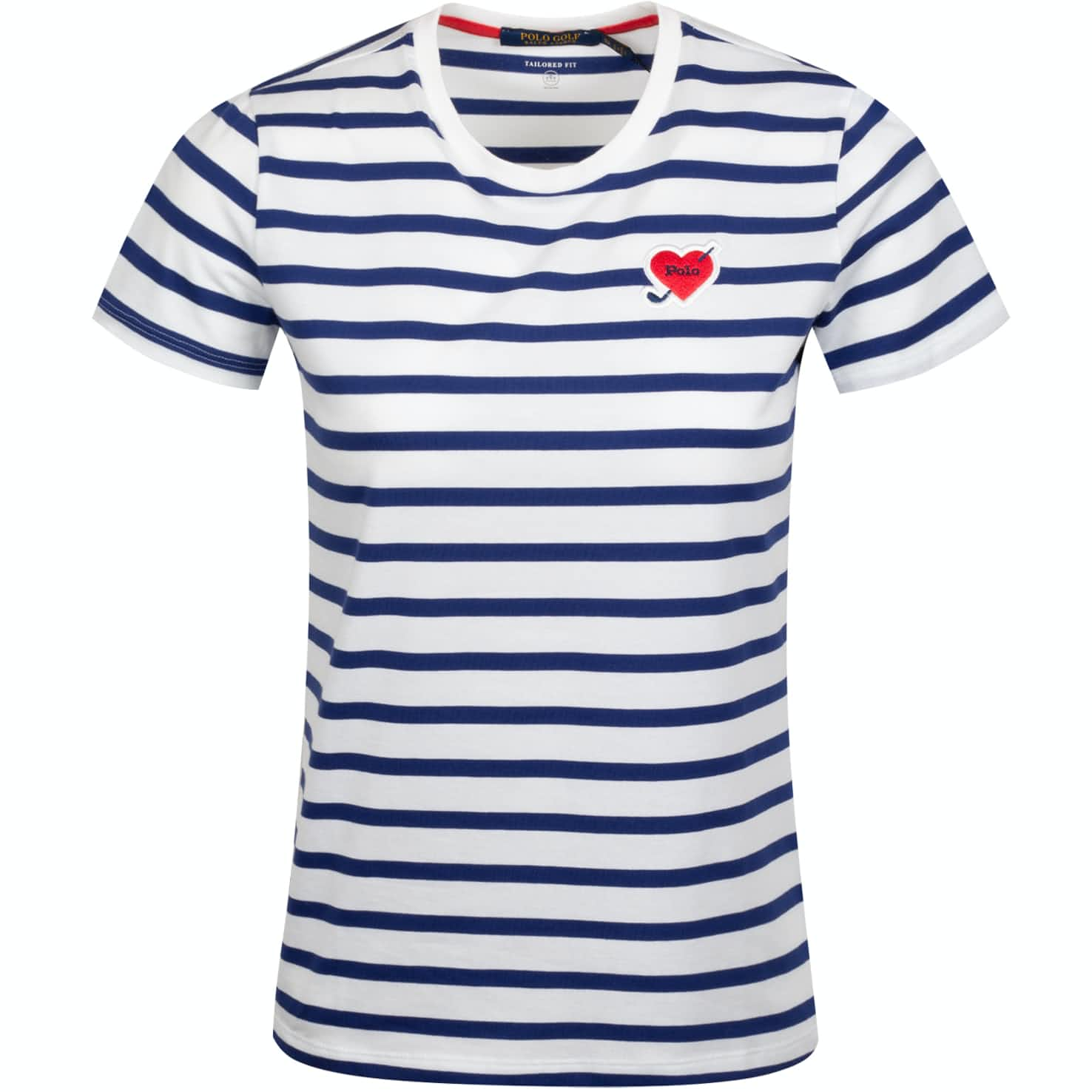 Womens Heart Patch Stripe T-Shirt Pure White/Sporting Royal - AW19