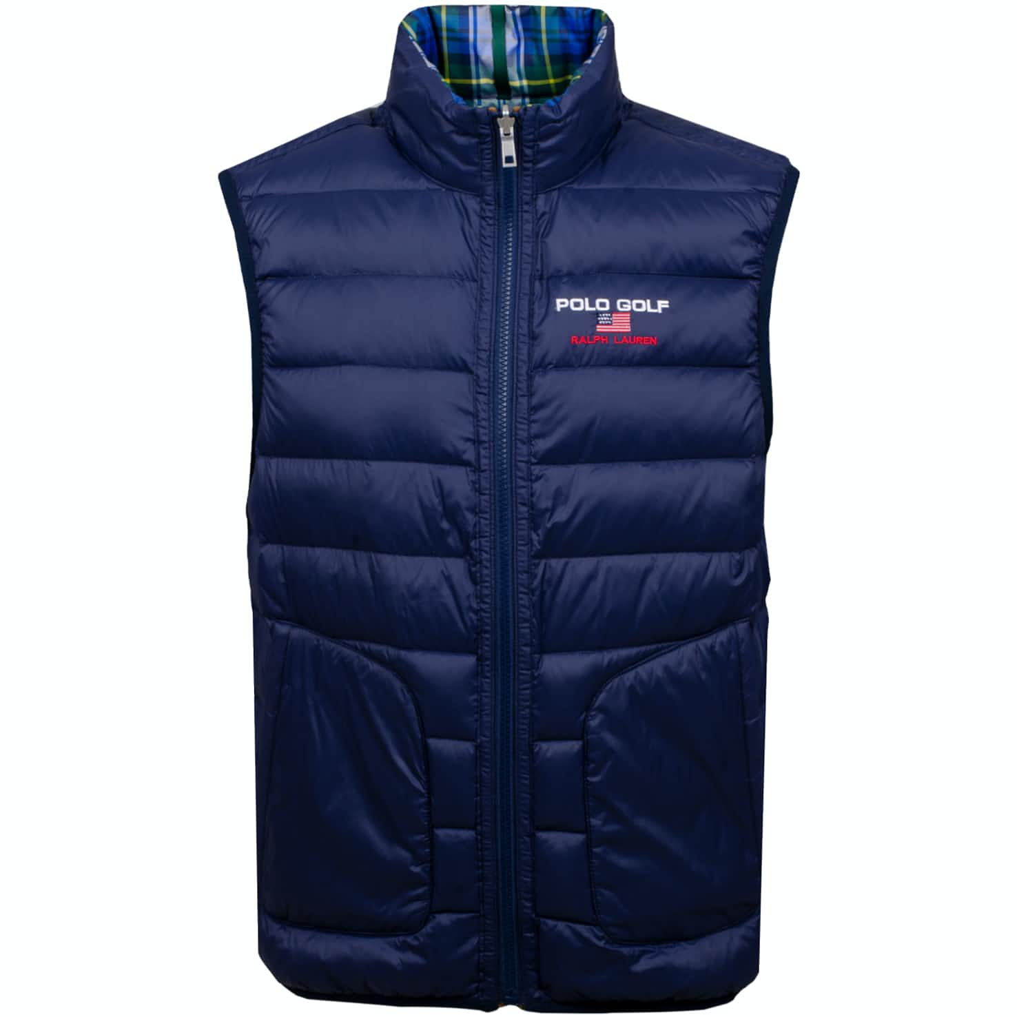 Reversible Down Vest Plaid/French Navy - AW19