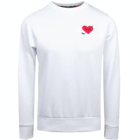 Womens Heart Patch Crew Neck Pure White - AW19