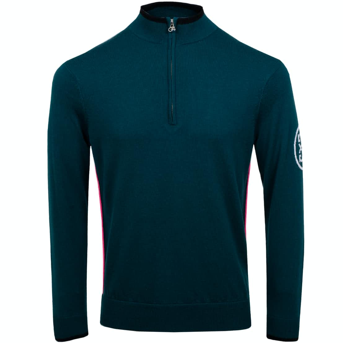 G/FORE Tipped Quarter Zip Pine   Knitwear   TRENDYGOLF.COM