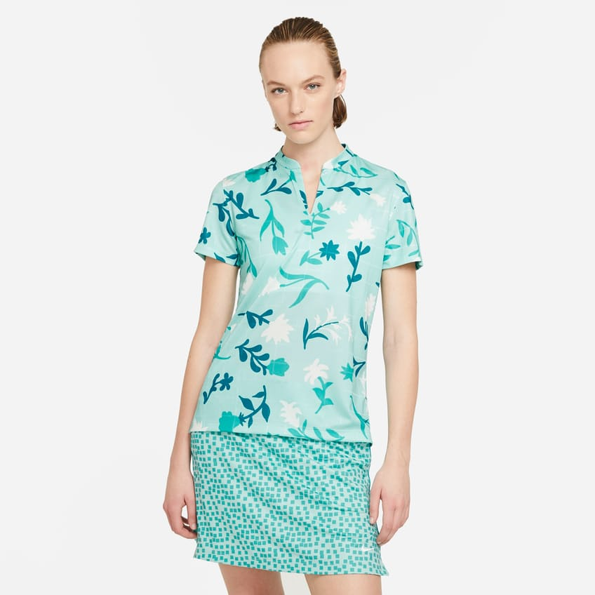 Womens Breathe Floral Print Polo Light Dew/Blustery - Summer 21 0