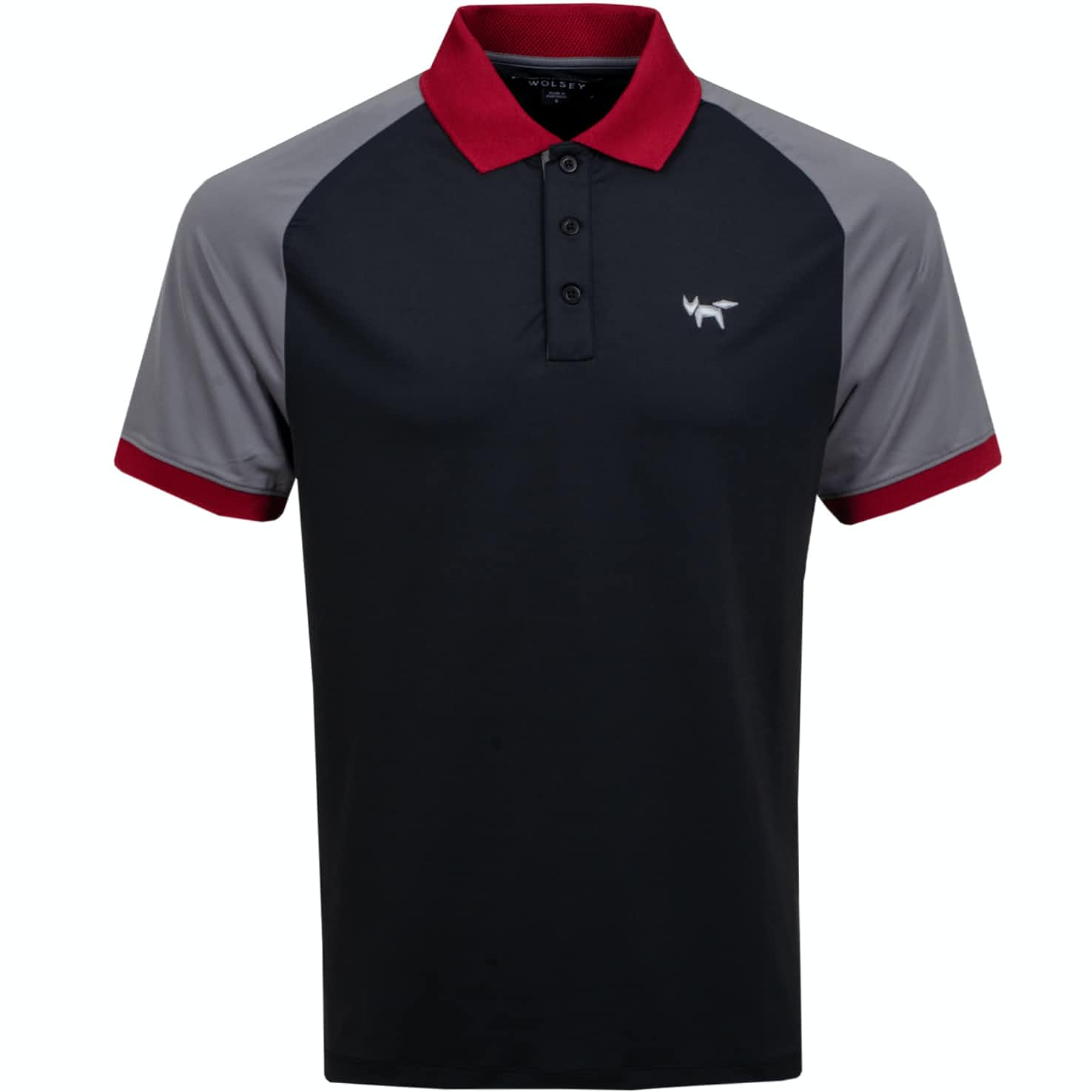 Wolsey Colour Block Raglan Polo Black - AW19