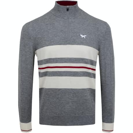 Chest Stripe Quarter Zip Sweater Grey Melange - AW19