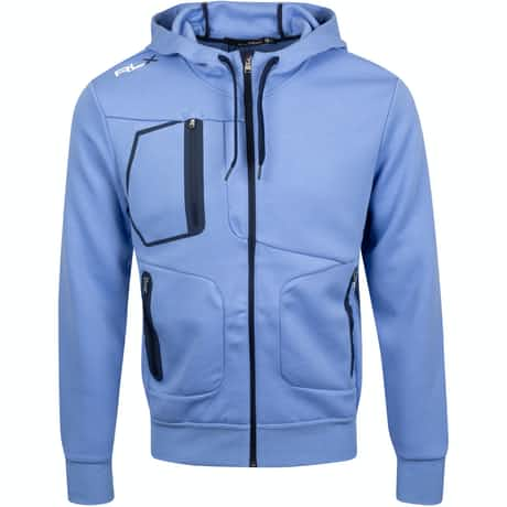 RLX Ralph Lauren Double Knit Tech Hoodie Blue Mist - AW19