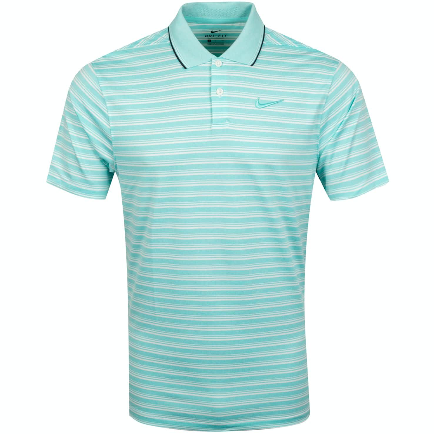 Dry Vapor Control Stripe Polo Light Aqua  - W19