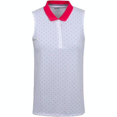 Womens Sleeveless Polka Dot Polo Bright White - AW19
