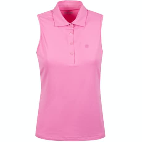 Womens Perforated Sleeveless Polo Fuschia - SS20