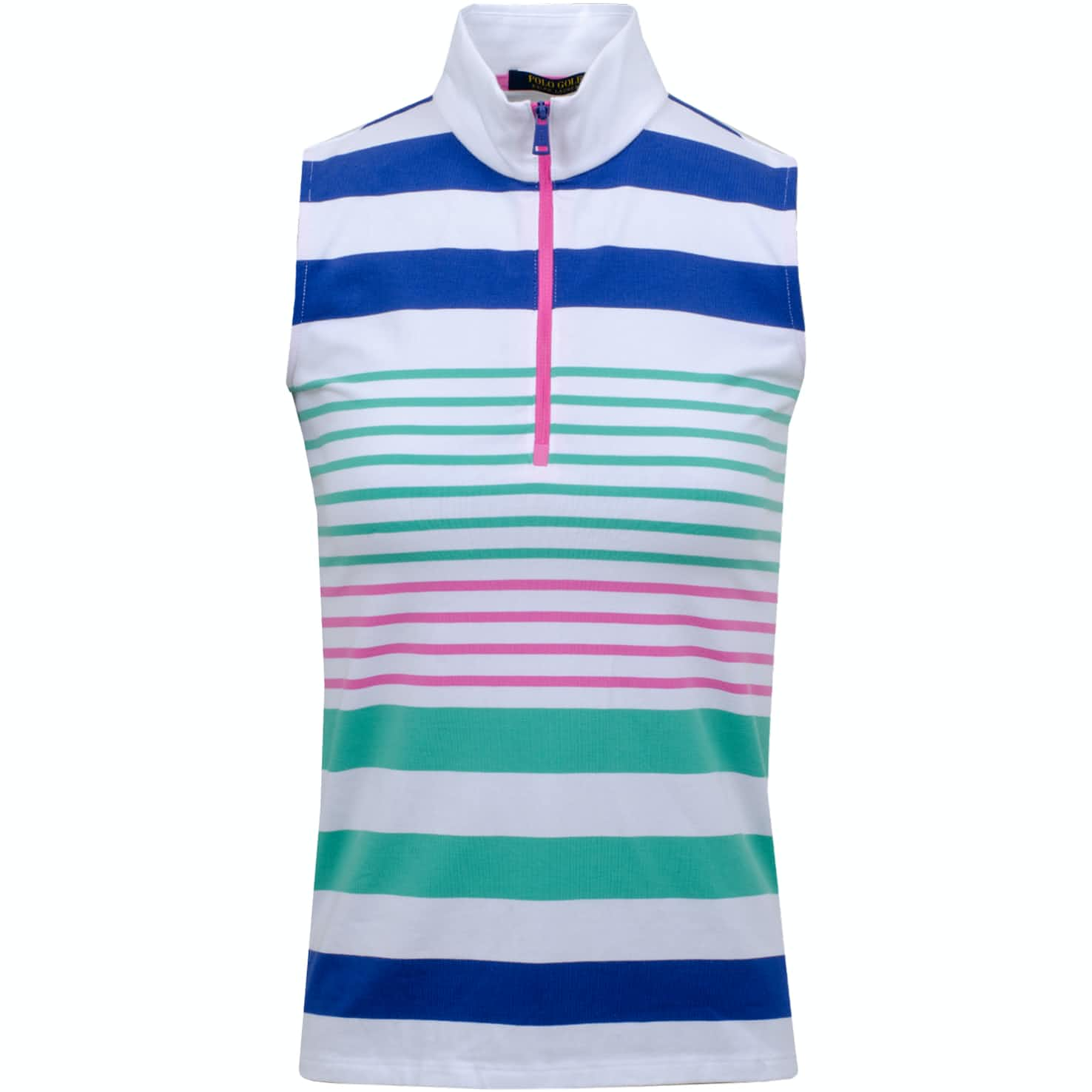 Womens Sleeveless Stripe Zip Polo Key West Multi - SS20