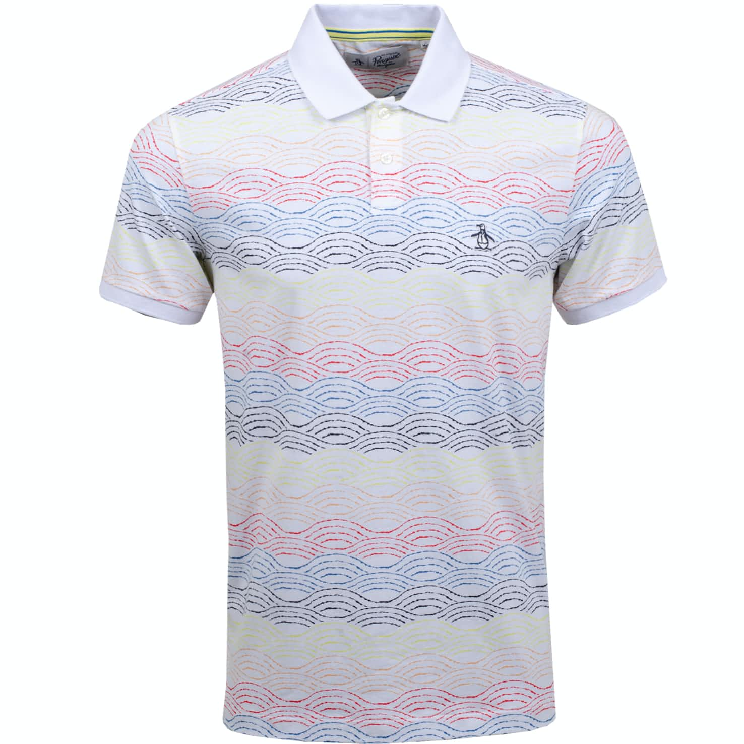 Washed Wave Stripe Polo Bright White - SS20