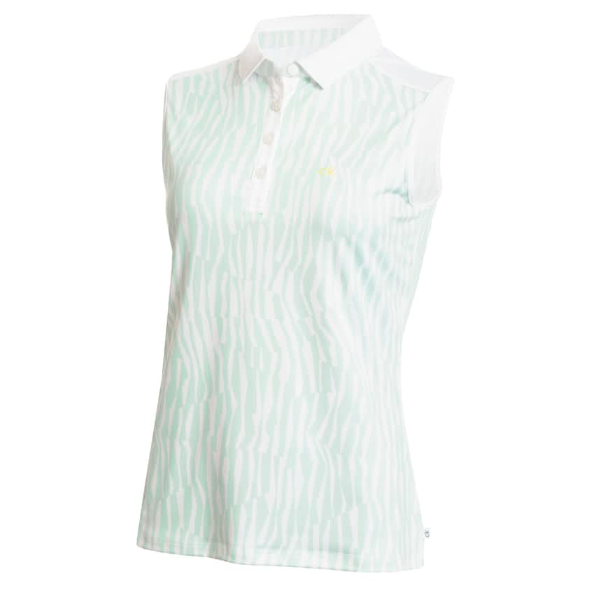 Womens Catalina Sleeveless Polo Aqua/White - SS20