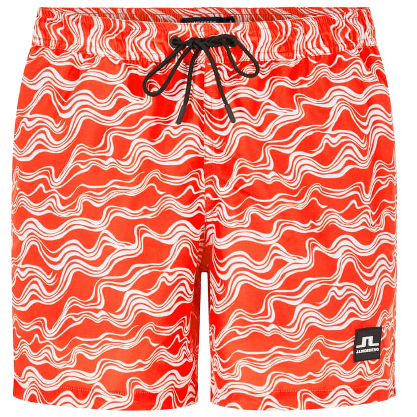 Banks Pattern Swim Shorts Racing Red - SS20