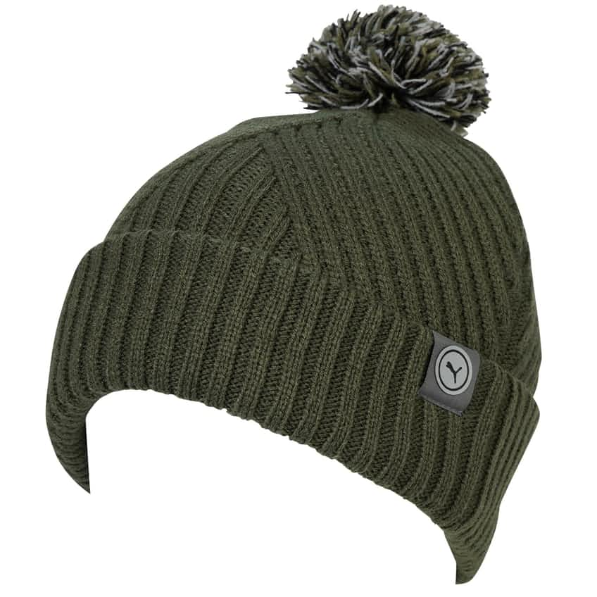 Womens Circle Cat Removable Pom Beanie Thyme - AW20