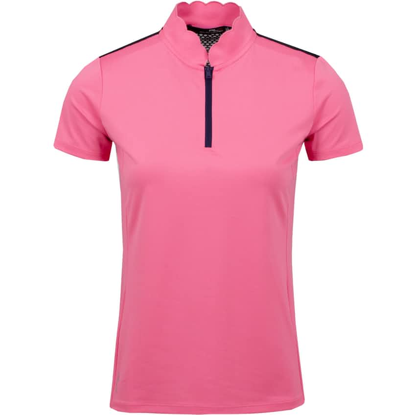 Womens Mesh Mix Polo Antique Rose/French Navy - AW20
