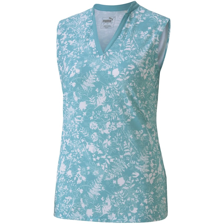 Womens Microfloral Sleeveless Polo Milky Blue - AW20