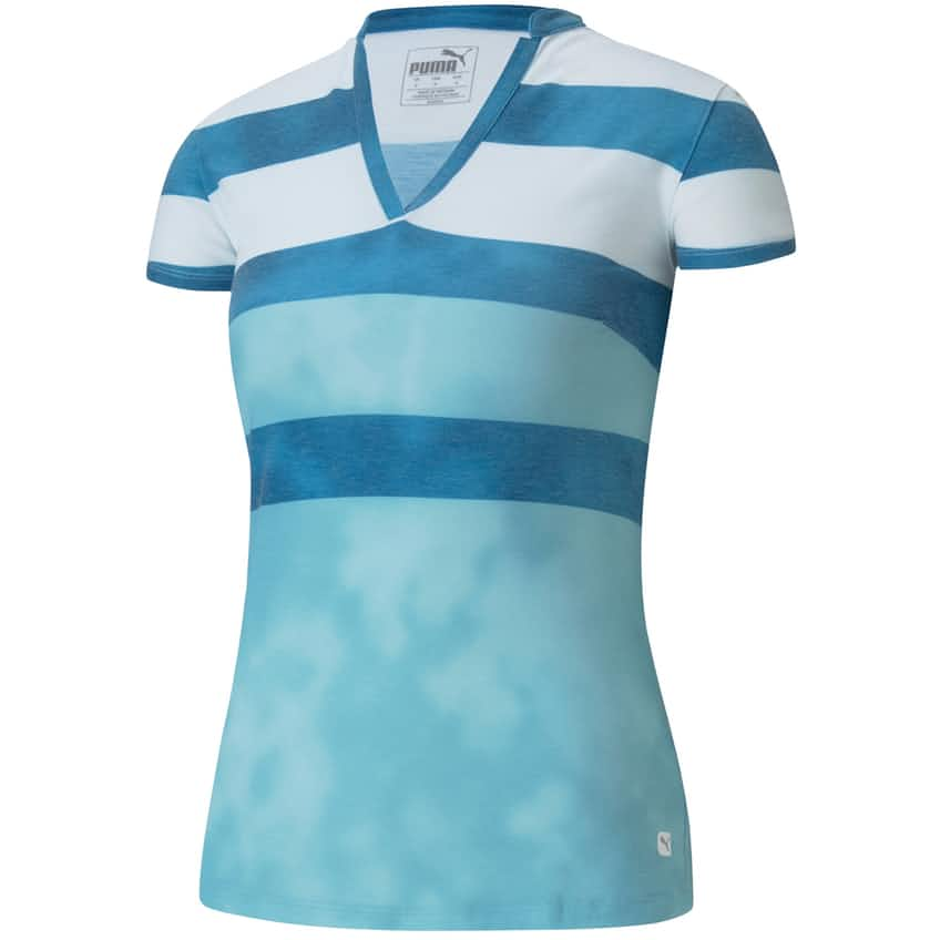 Womens Dye Stripe Polo Milky Blue - AW20