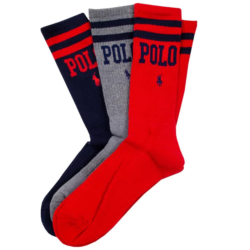 Double Bar Crew Sock Three Pack Navy/Foster Grey - AW20