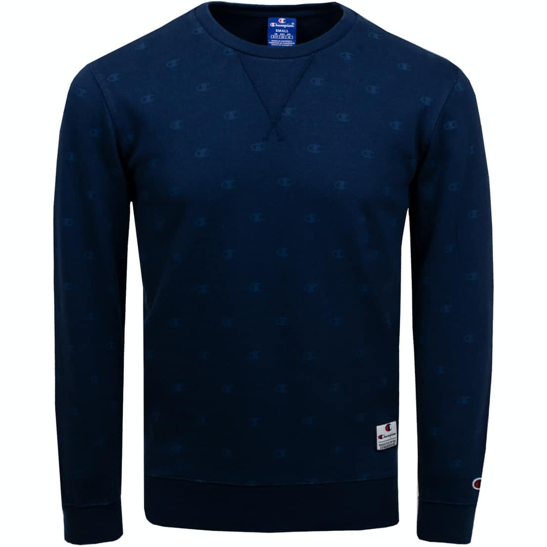 Allover Print Crew Neck Sweat Blue