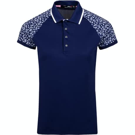 Womens Print Sleeve Polo French Navy - SS19