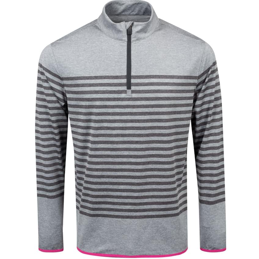 Striped Quarter Zip Mid Heather Grey - SS21