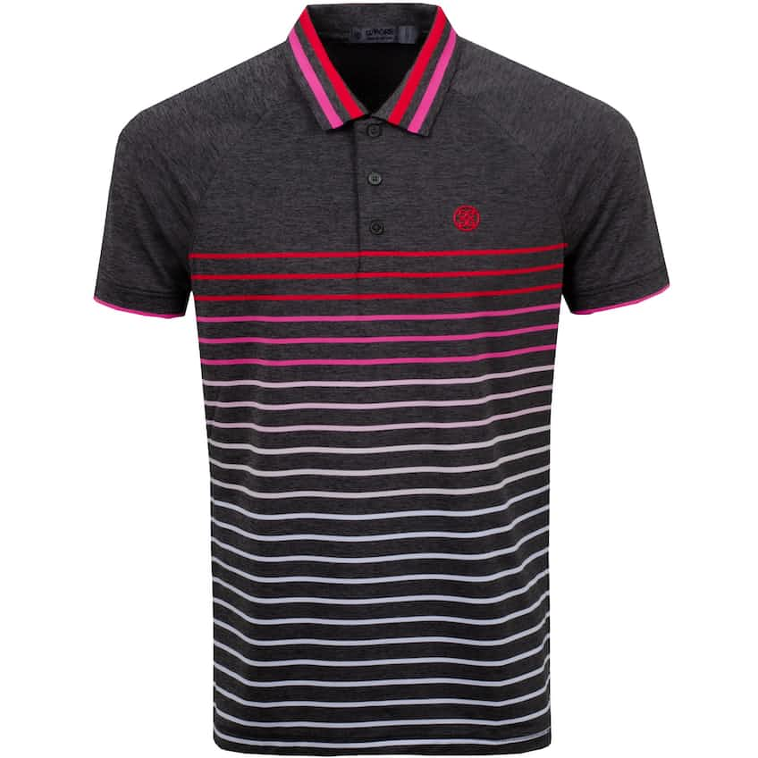 Variegated Raglan Stripe Polo Charcoal Heather Grey - SS21
