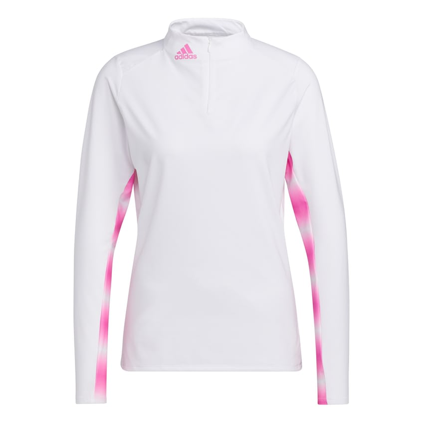 Womens Heat Ready UPF Long Sleeve Mock White/Screaming Pink - SS21