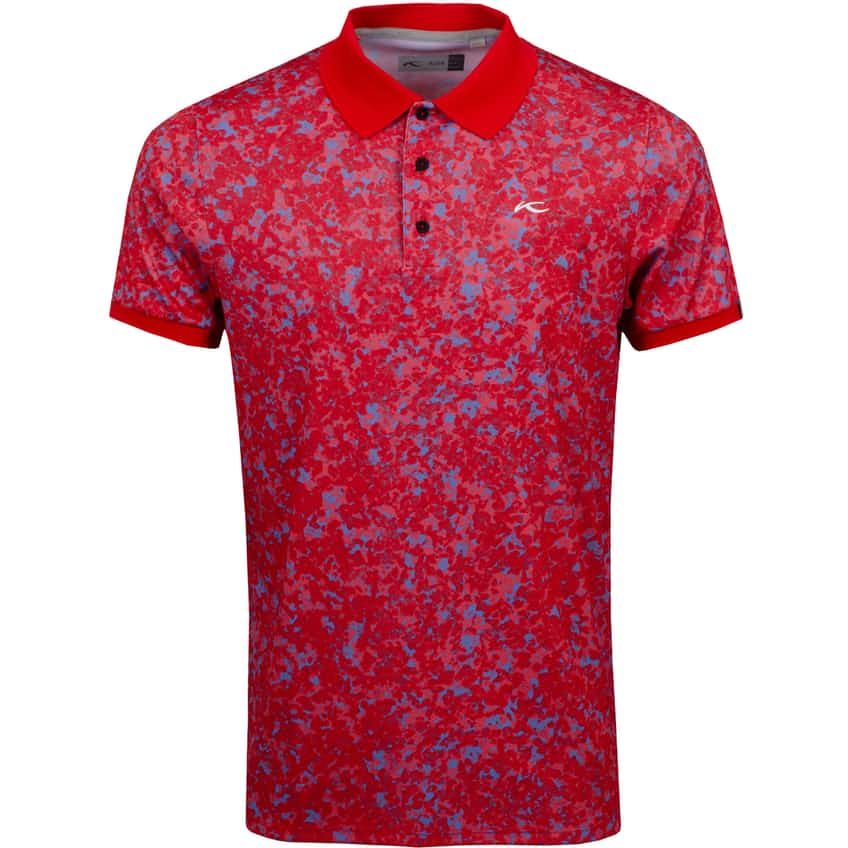 Spot Printed Polo Cosmic Red/Waterfall - SS21