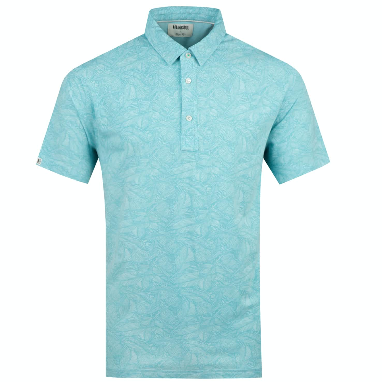 Dry Tech Leaf Print Polo Tidepool Heather - SS19
