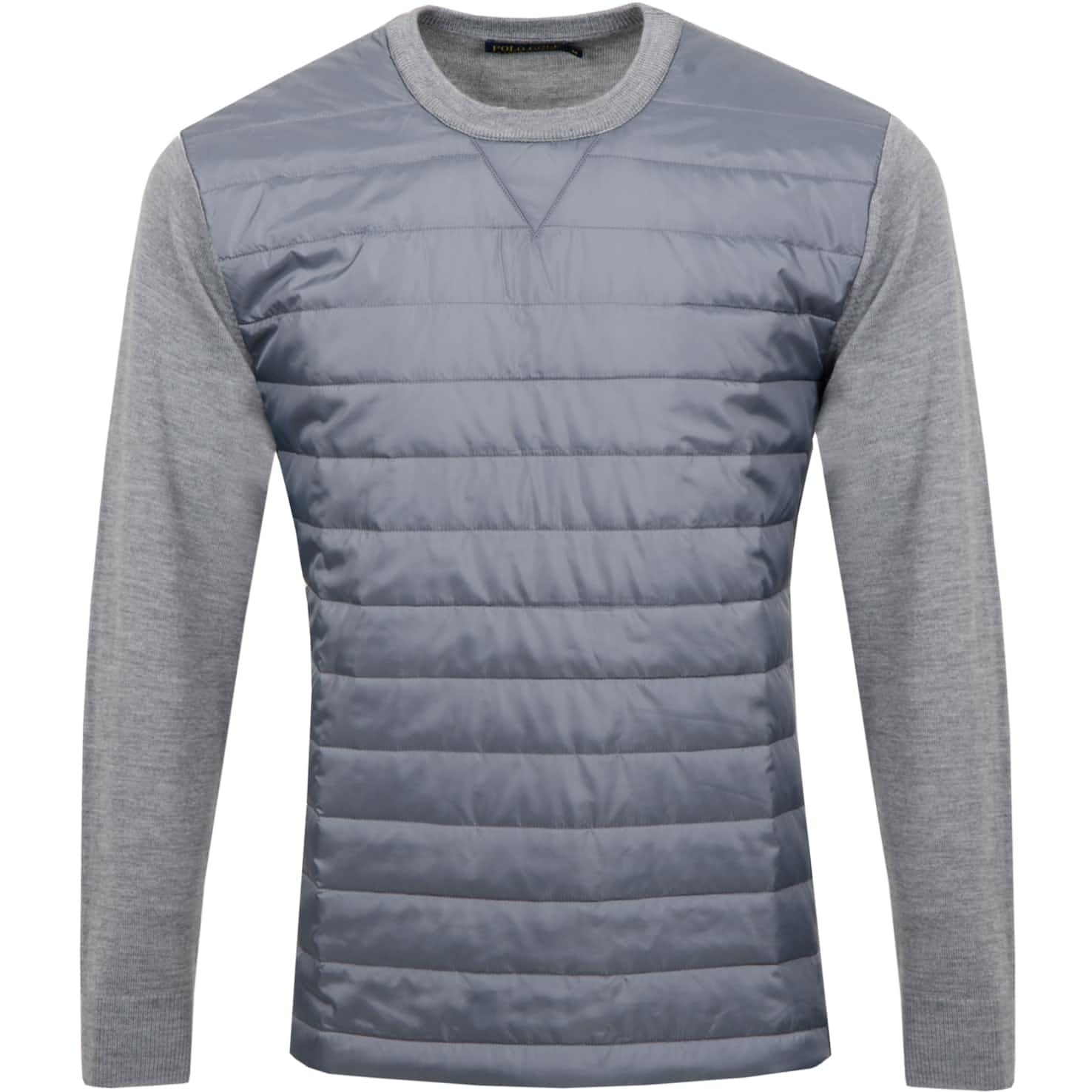 Merino Long Sleeve Quilted Crew Neck Grey Heather