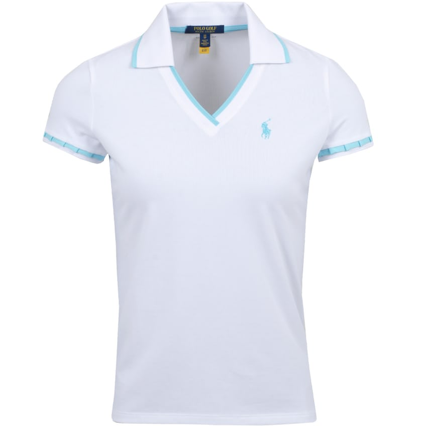 Womens Cricket Polo Pure White/Hammond Blue - 2021