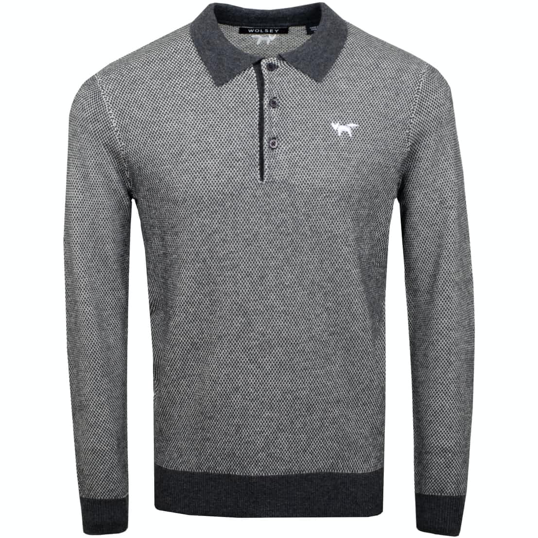 Heathered Twist LS Polo Grey - SS19