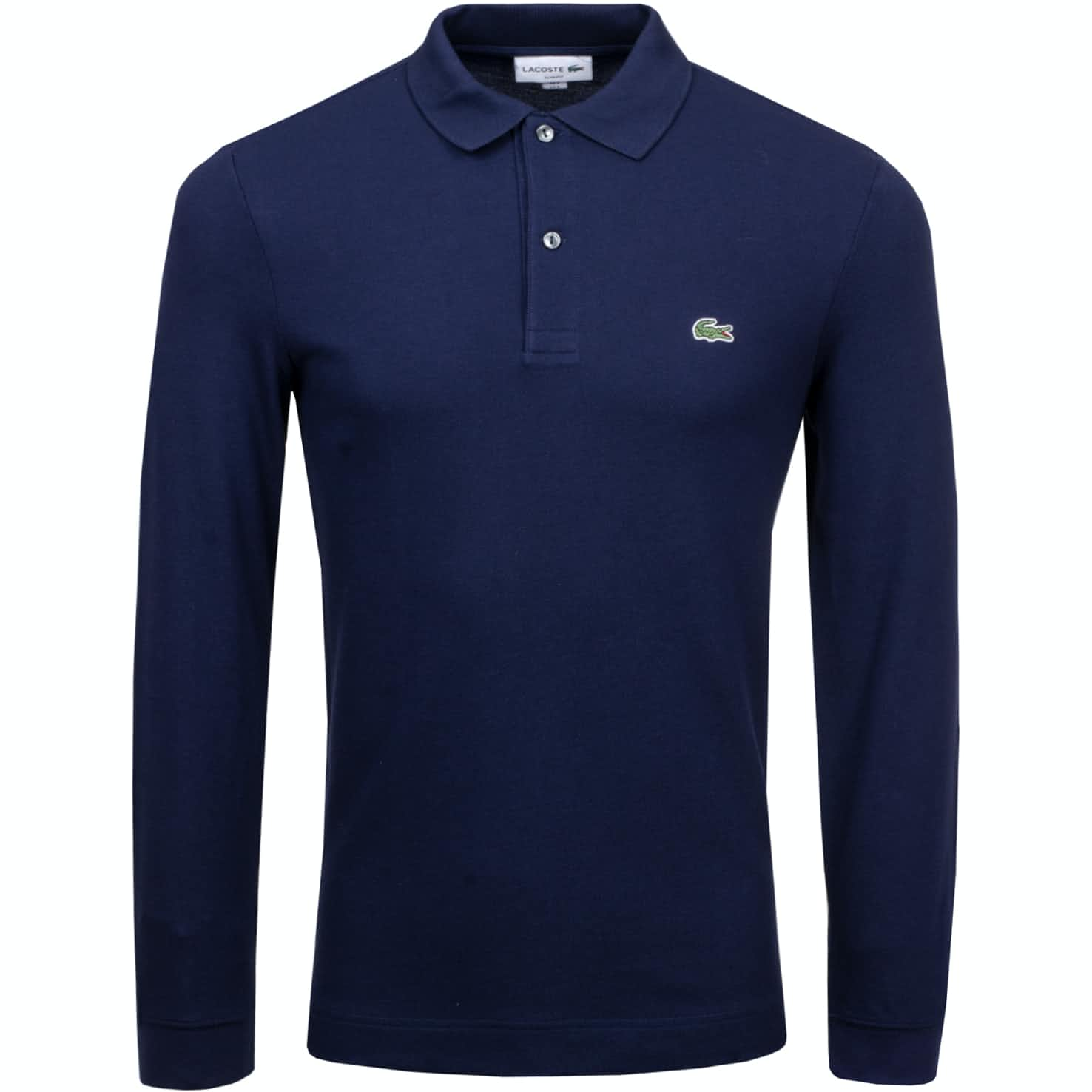 LS Slim Fit Pique Polo Navy - 2019