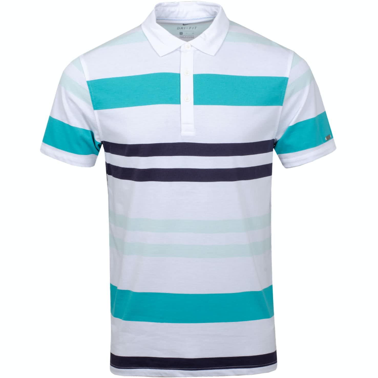 Dry Player YD Stripe Polo White/Teal Tint - Summer 19